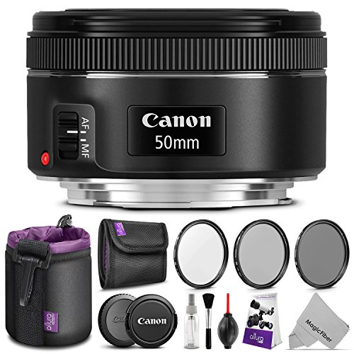 Canon EF 50mm f/1.8 STM Lens w/ Essential Photo Bundle - Includes: Altura Photo UV-CPL-ND4, Neoprene Lens Pouch, Camera Cleaning Set