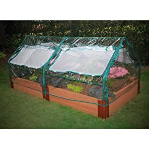 """Raised Garden Bed 4' x 8' x 12"""" with two PVC 4' x 4' Greenhouses (Wood Grain) (12""""H x 4'W x 8'D)"""