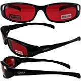 NEW ATTITUDES - Stylish Sunglasses - RED Lenses, GLOSS Black Frame