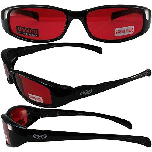 NEW ATTITUDES - Stylish Sunglasses - RED Lenses, GLOSS Black - Frames Attitude Glasses