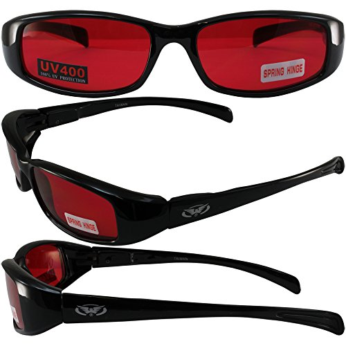 NEW ATTITUDES - Stylish Sunglasses - RED Lenses, GLOSS Black - New Stylish Sunglasses