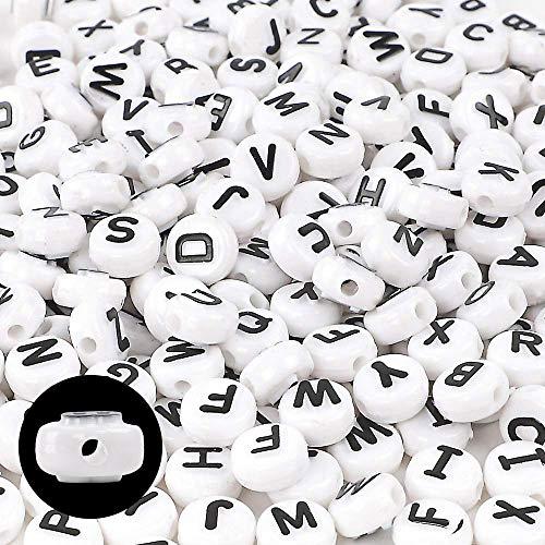 DICOBD 300pcs 10mm Letter Beads Acrylic White Alphabet Beads with Black Bulge Letters for Jewelry, Key Chain, Bracelet and Necklace Making -