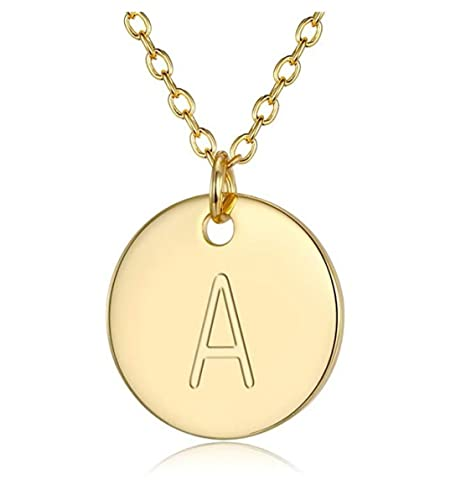 """419d4528b 14K Gold on Sterling Silver Letter Pendant Necklace 14"""" Choker Necklace    Dainty Personalized Initial"""