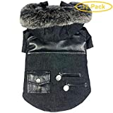 "Pet Life Black Denim Choppered Dog Coat X-Small - (8"" Neck to Tail) - Pack of 12"