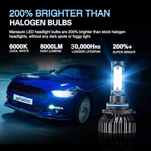 Marsauto 9006 LED Headlight Bulbs Low Beam 8000LM 6000K,200% Brightness, HB4 HB4U 9006XS Fog Light Head Light Bulb,12 CSP Chips Cool Bright,Pack of two