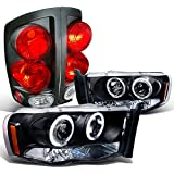Dodge Ram Black Projector Halo Led Headlights, 3D Style Tail Lights