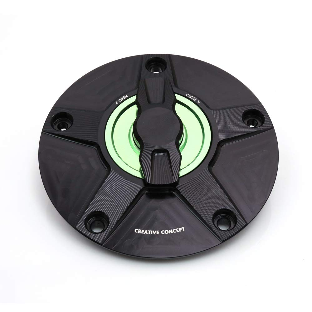 NIMBLE Black Green CNC Quick Lock Fuel Gas Cap For Kawasaki ZX-6R ZX-10R Ninja 2007-2017 14 15 16 18 MC Motoparts