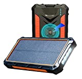 Solar Power Bank, Qi Wireless Portable Charger 20,000mAh External Battery Pack, 4 in 1, Dual USB Output + Type C Output + Wireless Charger, with Strong Flash Light (Waterproof, Shockproof)