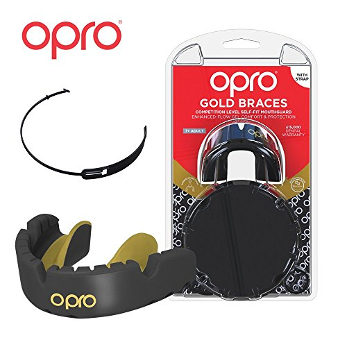 (OPRO Gold Level Mouthguard for Braces + Strap | Custom-Fit Gum Shield for Football, Lacrosse, and Other Contact Sports - 18 Month Dental Warranty (Ages 7+))