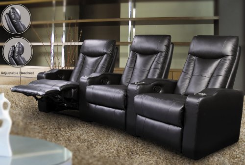 3 Seated Theatre Recliners - Coaster 600130-3 (Recliner Theater Leather Match 3)