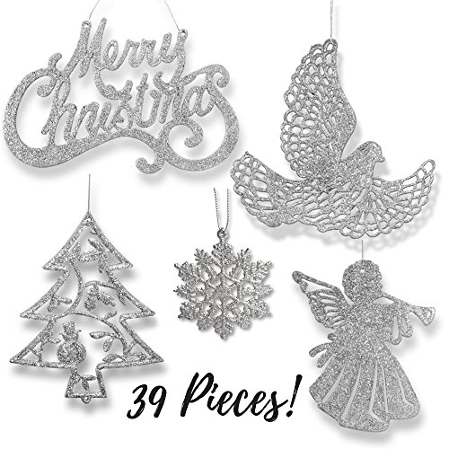 amazoncom banberry designs silver christmas ornaments pack of 39 silver glitter ornaments merry christmas angels doves xmas trees and snowflakes - Silver Christmas Decorations