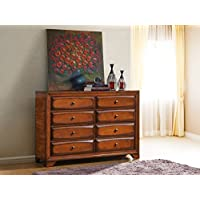 Roundhill Furniture Oakland 139 Antique Oak Finish Wood 6 Drawers Dresser