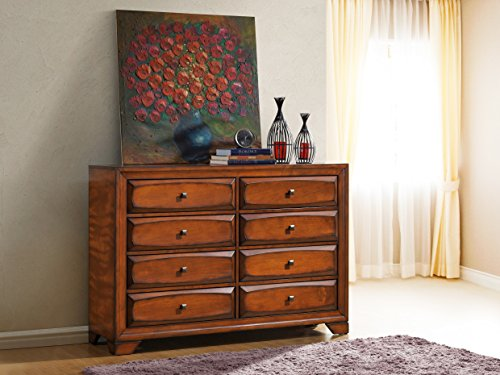 Roundhill Furniture Oakland 139 Antique Oak Finish Wood 6 Drawers Dresser - 139 Finishes
