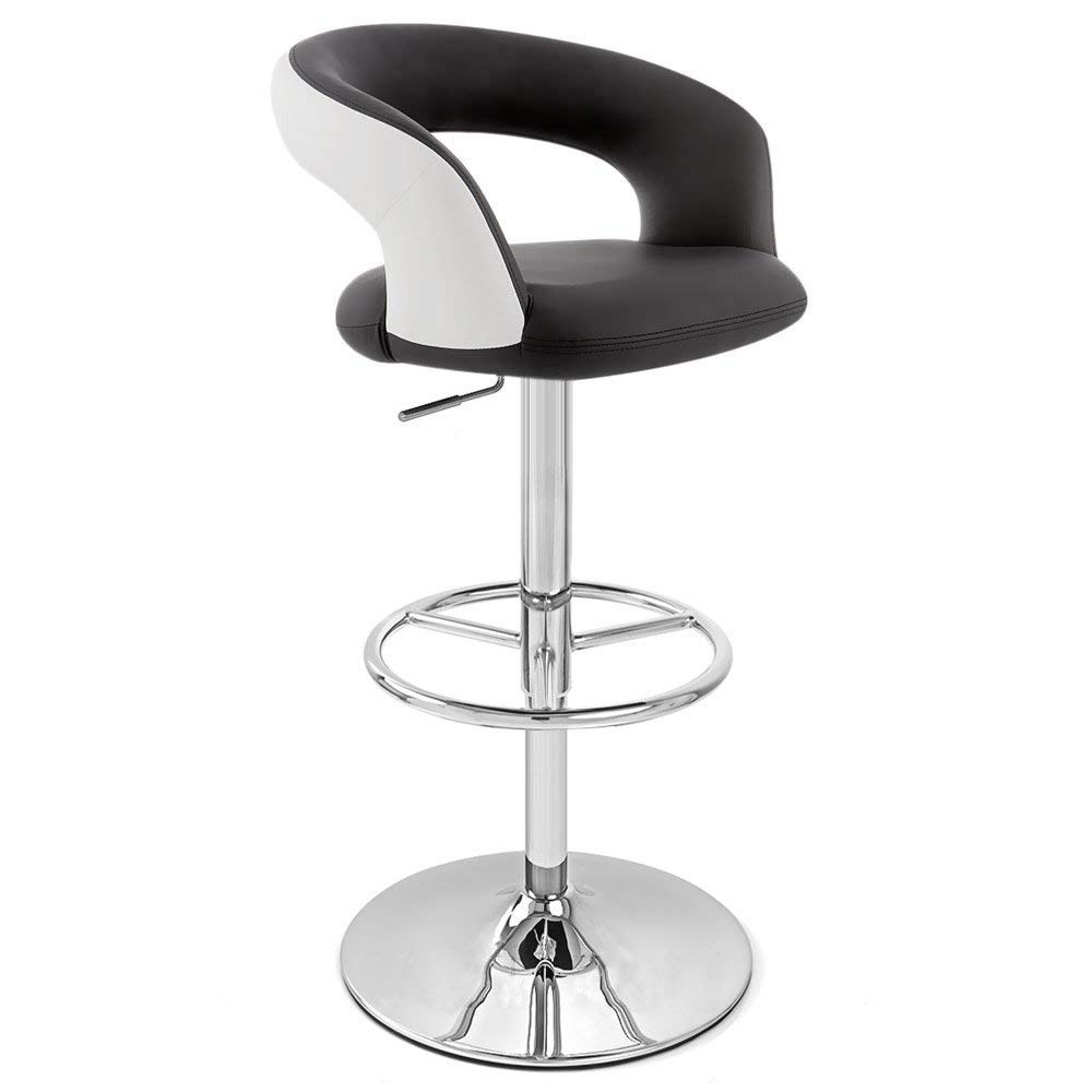 Zuri Furniture Black and White Monza Adjustable Height Swivel Armless Bar Stool by Zuri Furniture