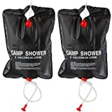 SET OF 2 NEW 20L SOLAR POWER SHOWER CAMPING WATER PORTABLE SUN COMPACT HEATED OUTDOOR