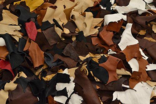 Deerskin Leather Hide - The Leather Guy - Scrap Deer Leather 1 Pound 1/2-2 Hand Sizes 2-4 oz Deer Hide Black/Browns/White