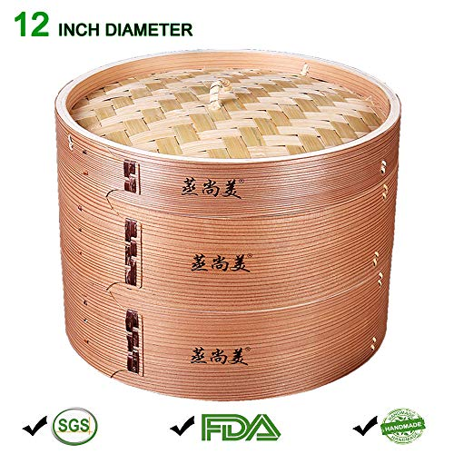 Hooden 12 Inch Handmade Wooden Bamboo Steaming Basket With 2 Tier Deepen Tray, Stainless Steel Rack, Healthy Cooking for Veggies, Dumplings, Fish, Buns, Dim Sun, Rice, Chicken, Shrimp, Asian Kitchen Steamer-Chinese Cooker Pot (Oriental Steamer Bamboo)