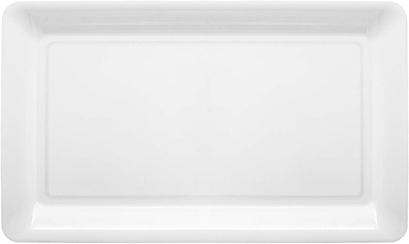 Party Essentials Heavy Duty Hard Plastic 12 x 18-Inch Rectangular Serving Tray, Single Unit, White