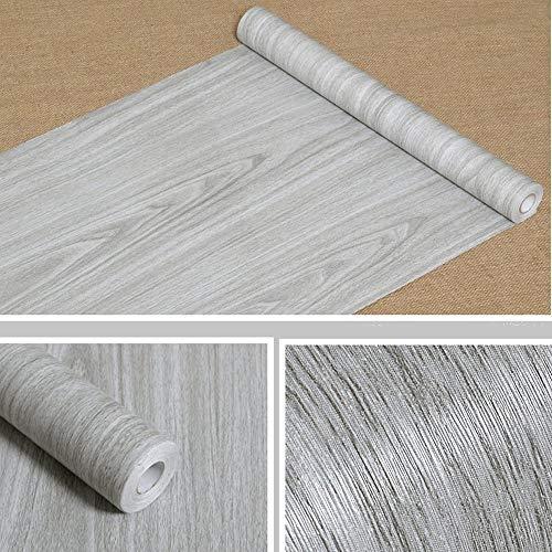 Papel de contacto adhesivo grano de madera para cubrir estantes, maletero, armarios de la cocina, encimera, pared, cuadro, puerta, escritorio (gris, ...