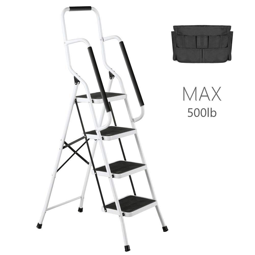 4 Step Ladder Tool Ladder Folding Portable Steel Frame MAX 500 lbs Non-Slip Side armrests Large Area Pedals Detachable ToolBag Suitable for Home Office Engineering