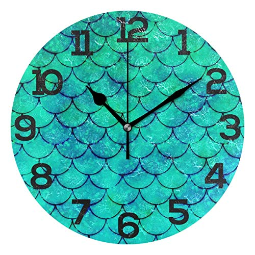 Dozili Colorful Watercolor Mermaid Scale Round Wall Clock Arabic Numerals Design Non Ticking Wall Clock Large for Bedrooms,Living Room,Bathroom