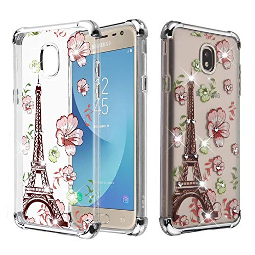 Insten Klarion Candy Eiffel Tower TPU Rubber Skin Transparent Case Cover with Diamond Compatible with Samsung Galaxy J7 (2018)/J7 Refine/J7 Star/J7 V 2nd Gen (2018), Multi-Color