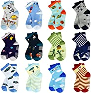Toddler Socks Grips Non-Skid 12 Pairs Baby Kids Sticky Slipper Cotton Socks 1-3/3-5/5-7 Years Old Children/Boy