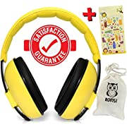 ROMS Noise Cancelling Baby Ear Protection Baby Earmuffs ~ Protect Infants and Kids Hearing with Safe, Sound Proof Ear Muffs ~ Comfort Fit + Bonus Travel Bag and Stickers by Baby (Yellow)