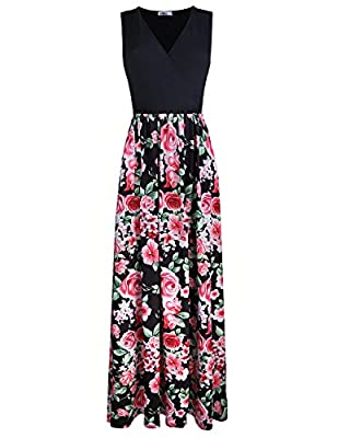 Styleword Women's Sleeveless Waist Pocket Maxi Long Dress