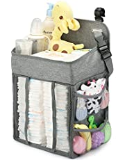 Changing Table Diaper Organizer - Baby Hanging Diaper Stacker Nursery Caddy Organizer for Cribs Playard Baby Essentials Storage