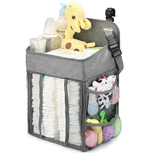 Changing Table Diaper Organizer – Baby Hanging Diaper Stacker Nursery Caddy Organizer for Cribs Playard Baby Essentials Storage (Gray)