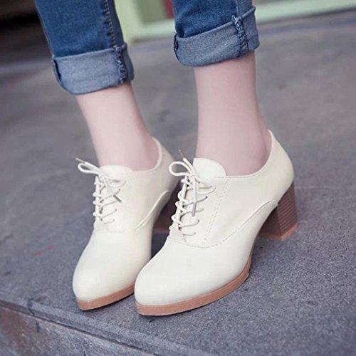 Sikye Femmes Printemps Chaussures De Mode Carré Bois Talon Lacets Bout Rond Chaussures De Sport En Plein Air Beige