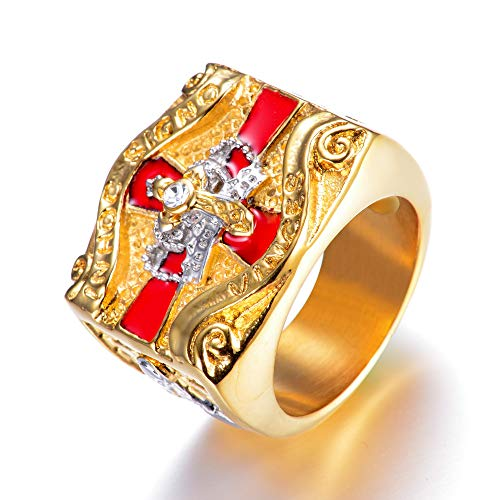 el Cross Crown Diamond Golden Hiphop Masonic Ring Templar Knight Male Ring (Gold, 13) ()
