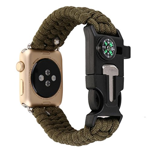 Classic Watch Band Compass (Alonea Nylon Rope Bracelet Watch band With Compass For Apple Watch Series 1/2 42MM (B))