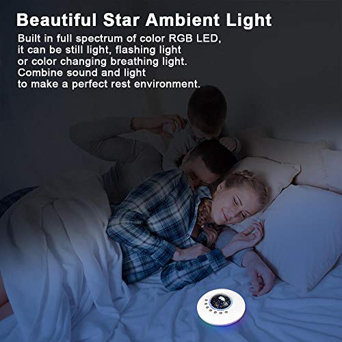 White Noise Machine Baby for Sleeping with Night LightStarry Ambient Light USB Portable Sound