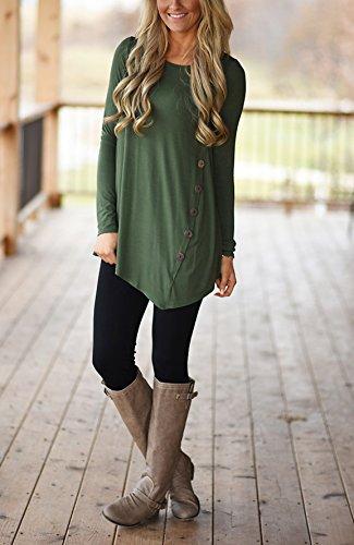 Taille Tunique Blouse Irrgulier vert Rond Col Longue T Longue Shirt Casual Tee Grande Haut Shirt Femme Lache Top Chemise Manche 7wwqUPY