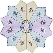 Houlife 100% 60s Cotton Floral Printed Handkerchief with Scalloped Edge Elegant Hankies for Women Ladies Weddi