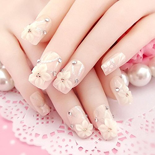 Jovono Long False Nails Patch 24 Pcs French Manicure Patch Bride Fake Nails Flowers(No glue) -