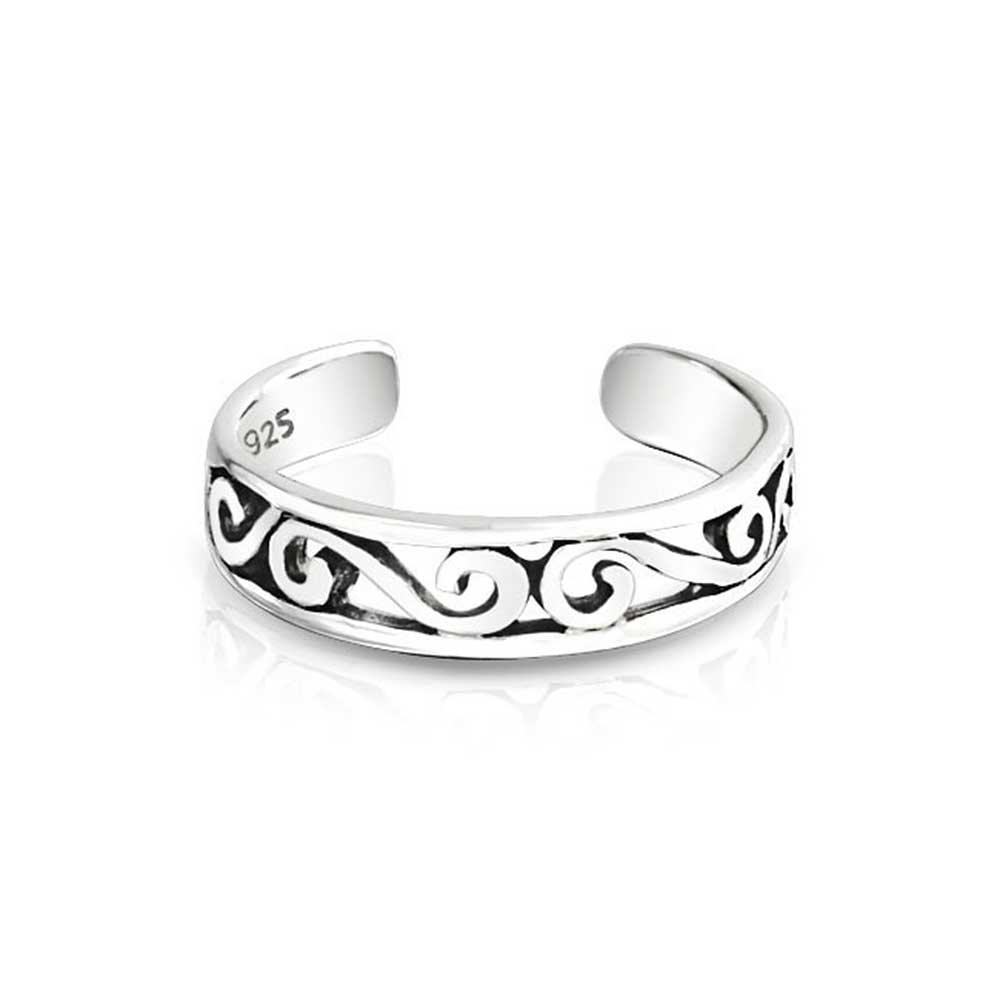 Cut-Out Celtic Swirl Filigree Thin Midi Band Toe Ring For Women 925 Silver Sterling Adjustable by Bling Jewelry