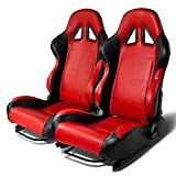 Universal Full-Reclinable Red Faux Leather Sport Racing Seats With Black Trim Set of 2