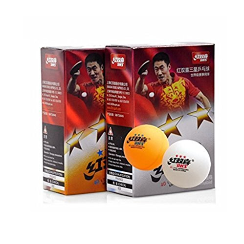 Sale!! DHS ITTF Approved 3-Star 40mm Table Tennis Balls, Tournament Ping Pong Balls, 6-Pack (White/O...