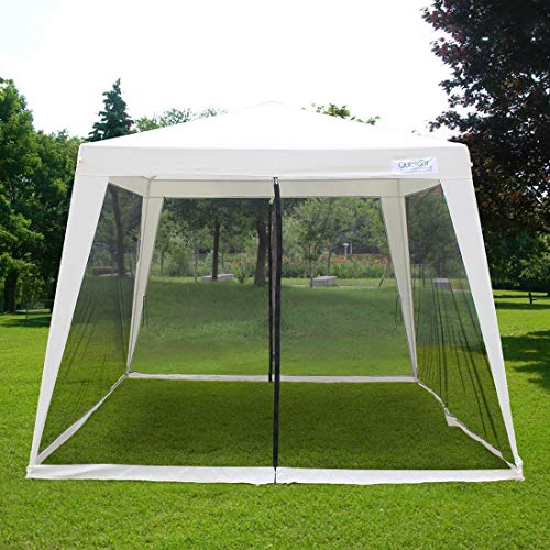 Quictent 10'x10' Party Tent Trapezoid Canopy Outdoor Gazebo with Fully Enclosed Black Mesh Side Wall Beige