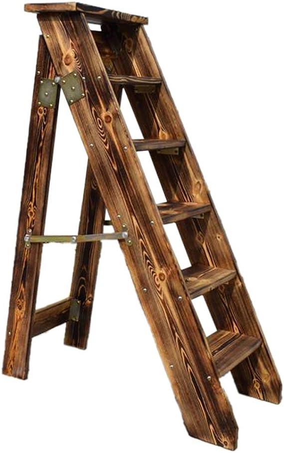 Retro Plegables Escaleras de 5 escalones Escaleras de Tijeras de Madera Silla con peldaños y escaleras para el hogar y la Biblioteca, Escaleras de Tijera Estilo Americano, Servicio Pesado: Amazon.es: Hogar