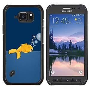 TECHCASE---Cubierta de la caja de protección para la piel dura ** Samsung Galaxy S6 Active G890A ** --Gold Fish Wild gratuitas de Ocean Swim Burbujas Arte