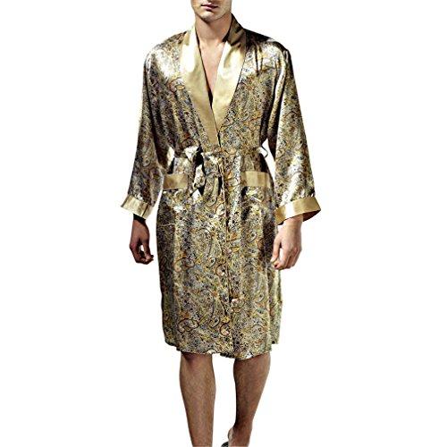Paradise Silk Pure Silk Print Men Sleepwear Kimono Robe Medium Pattern C