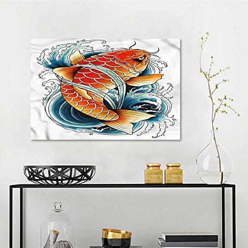 one1love Koi Fish Modern Decorative Painting Tattoo Style Japanese Wave Modern Decorative Artwork W23 xL15