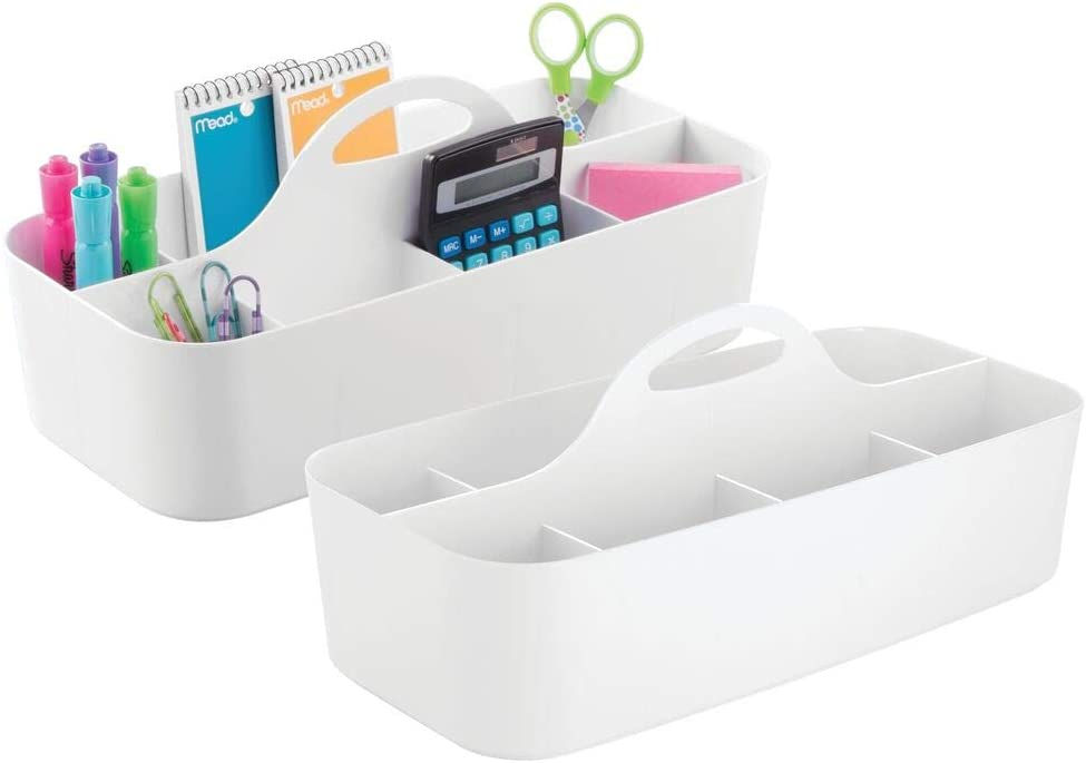 mDesign Large Office Storage Organizer Utility Tote Caddy Holder with Handle for Cabinets, Desks, Workspaces - Holds Desktop Office Supplies, Gel Pens, Pencils, Markers, Staplers - 2 Pack - White