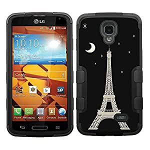 One Tough Shield ? Hybrid 3-Layer Phone Case (Black/Black) for LG Volt LS740 - (Eiffel Tower / Moon)
