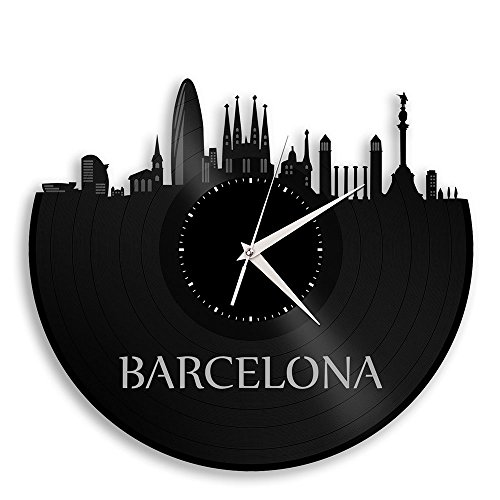 VinylShopUS - Barcelona Spain Vinyl Wall Clock City Skyline Unique Gift Home And Office| Room Decoration by VinylShopUS