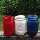 Hand Painted Mason Jar Decor Patriotic Set of Three 16 Oz Mason Jars Red White and Blue